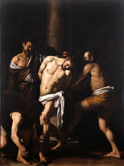The Flagellation of Christ by Caravaggio whose copy by Domenico Antonio Vaccaro is exhibited in the Church of San Domenico Maggiore in Naples