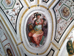 RENAISSANCE IN NAPLES - Detail of the ceiling of the sacristy with frescoes by Vasari