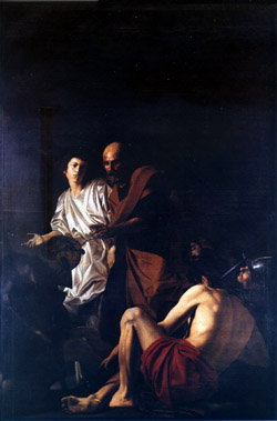 Liberation of Saint Peter by Battistello Caracciolo, the best follower of Caravaggio in Naples. This painting is exhibited in the Church of Pio Monte della Misericordia in Naples