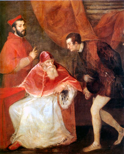 Capodimonte Museum - Pope Paul III and His Grandsons Ottavio and Cardinal Alessandro Farnese by Titian -1545-1546