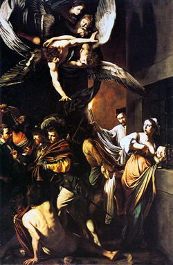 The Seven Works of Mercy by Caravaggio exhibited in the Church of Pio Monte della Misericordia in Naples