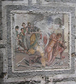 Cubicle with the fight between Theseus and the Minotaur