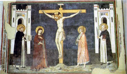 NAPLES GOTHIC CHURCHES: The Crucifixion by Pietro Cavallini in San Domenico Maggiore Church