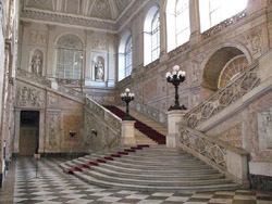 Royal Palace of Naples - Grand Staircase with white marble (1651)