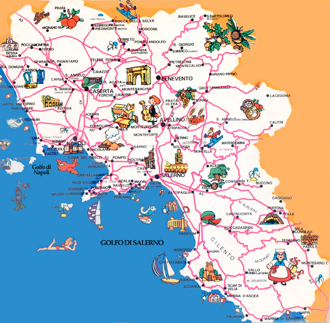 Map of Campania region
