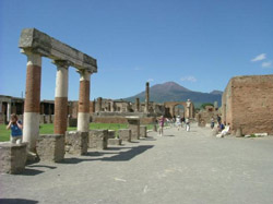 View of the Forum in the ruins of Pompeii