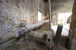 Wine press in the Torcularium of the