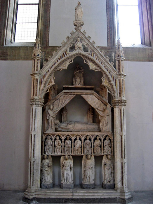 NAPLES GOTHIC CHURCHES: Tomb of Maria d'Ungheria by Tino da Camaino, in the Church of Santa Maria Donnaregina Vecchia in Naples